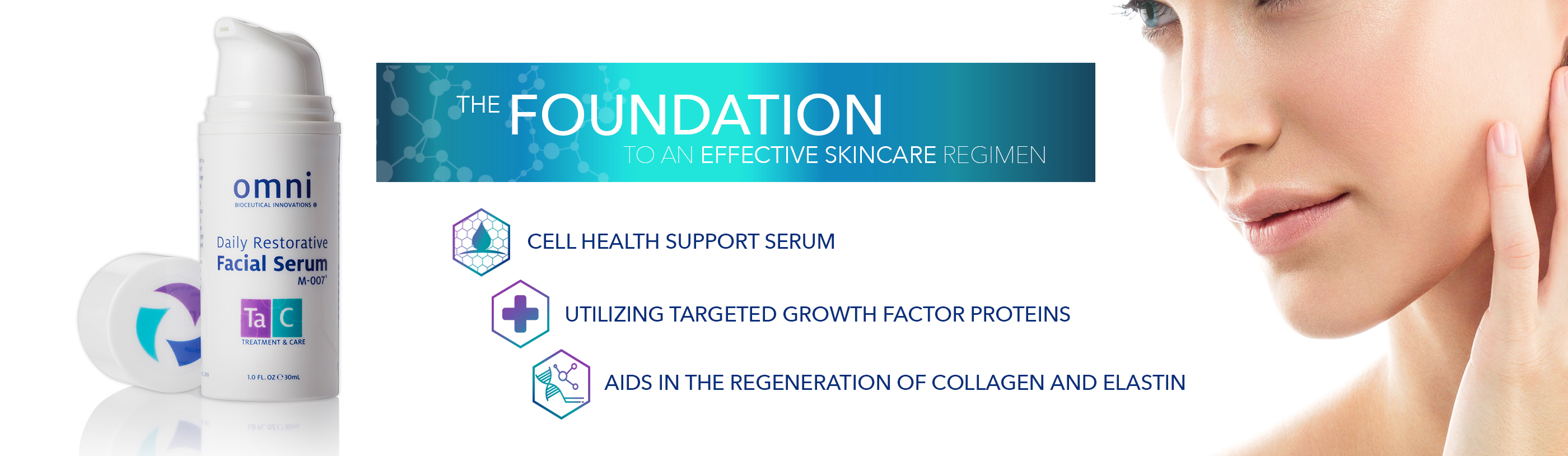 #loveomniskin, hfg, human growth factors, HPL, targeted, regeneration, facial serum, skin health solutions, hair health solutions, biome cleanser, clear skin, clean skin, m-007, boosting, treatment and care, skin care, hair care, omni, collagen, elastin, rebuild, cell health support,
