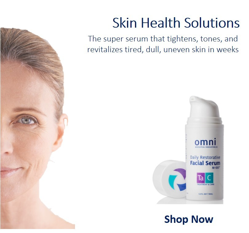 Three Faces Showcasing the Omni Serum our leading skincare product that tightens, tones, and revitalizes, our leading Haircare program that helps with rejuvination of hair with the Omni Hair Complex, and our professional services