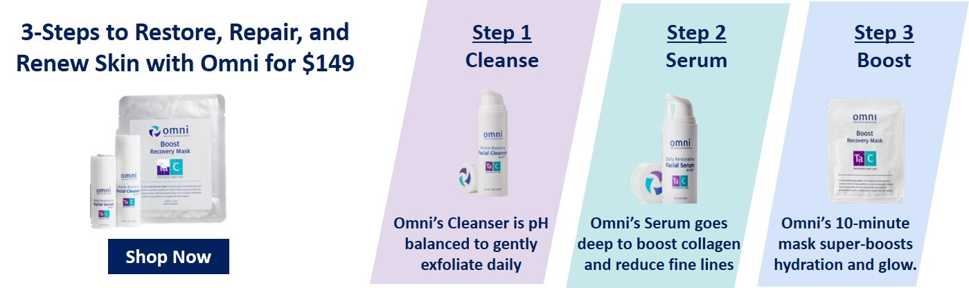 omni cleanser, facial serum, boost recovery mask, #loveomniskin